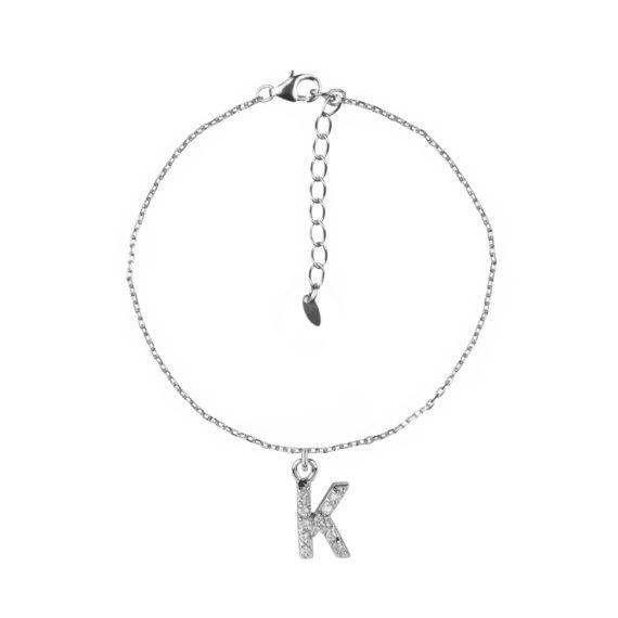 Bracciale Luxury Argento E Zirconi Con Lettera K