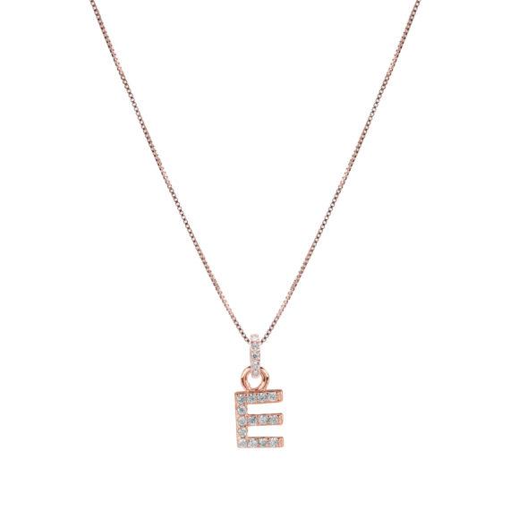 Collana Luxury Argento Rosè E Zirconi Con Lettera E