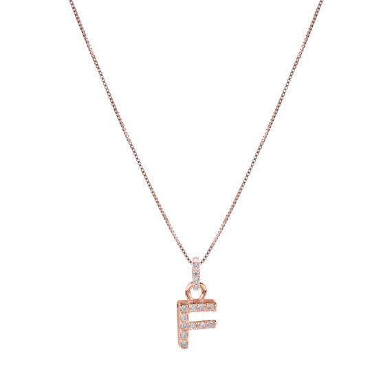 Collana Luxury Argento Rosè E Zirconi Con Lettera F