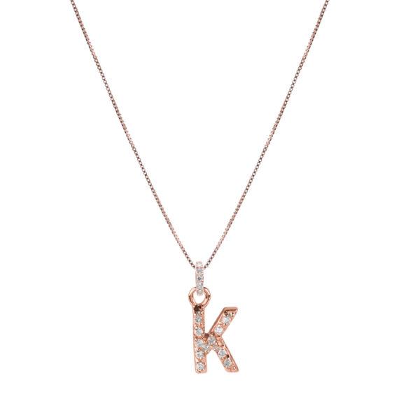 Collana Luxury Argento Rosè E Zirconi Con Lettera K