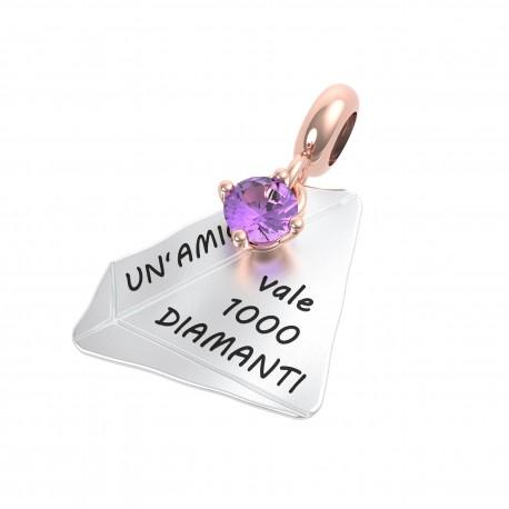 Charm Donna Rerum Amicizia Un'amica Vale 1000 Diamanti In Argento Con Ametista