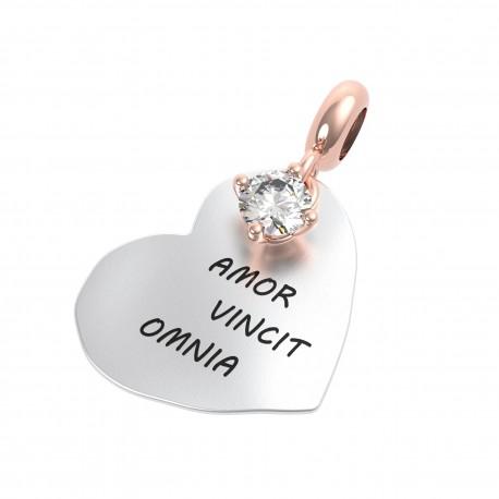Charm Donna Rerum Amore Amor Vincit Omnia In Argento Con Cristallo Di Rocca