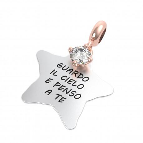Charm Donna Rerum Amore Guardo Il Cielo E Penso A Te In Argento Con Cristallo Di Rocca