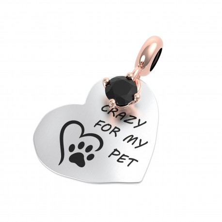 Charm Donna Rerum Passioni Crazy For My Pet In Argento Con Onice