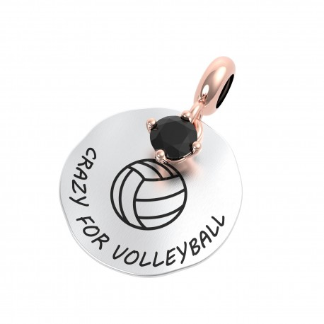 Charm Donna Rerum Passioni Crazy For Volleyball In Argento Con Onice