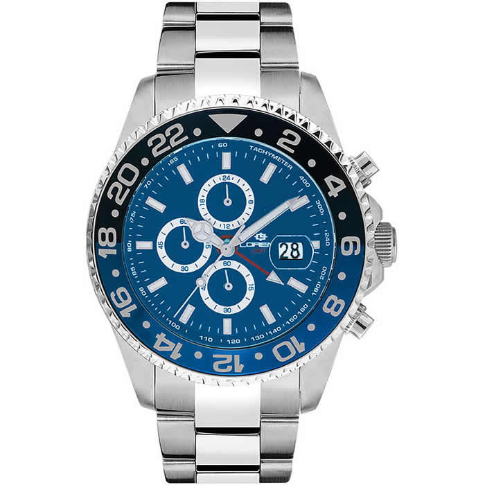 Orologio Lorenz Crono Diver GMT Nero-Blu 030182CC
